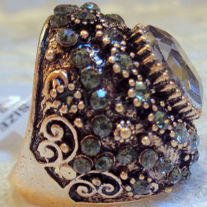 Big Rings Gray Cubic Zerconia Antique Gold Size 9